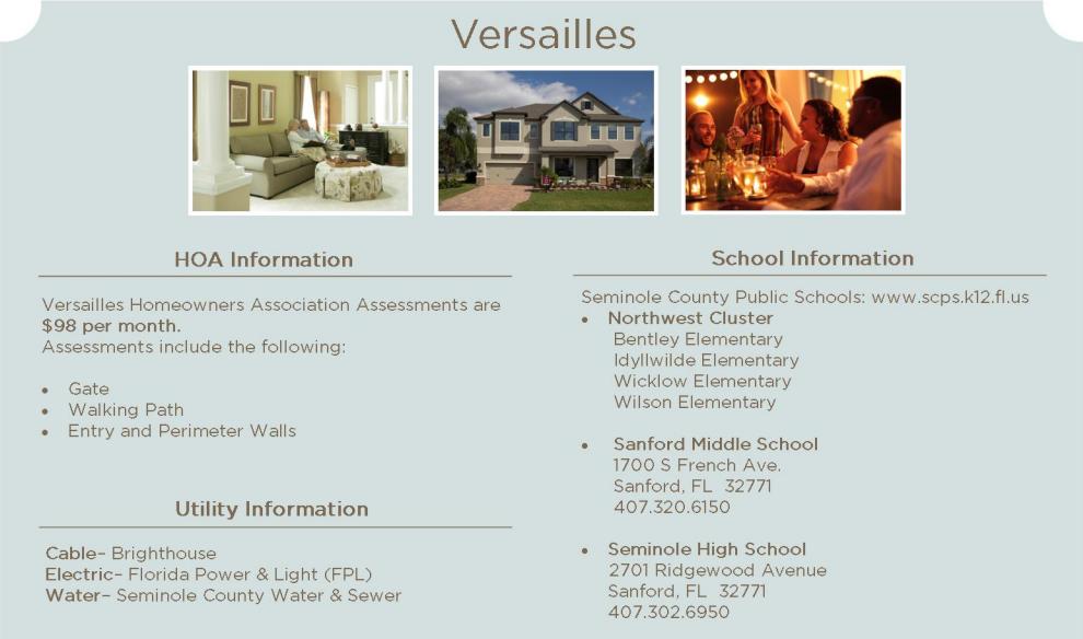 Versailles Sanford HOA Info